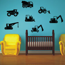CONSTRUCTION MACHINES wall decal sets bedroom kids vinyl stickers