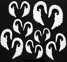 PAIR Tribal Angel Wing White Acrylic Taper Ear Gauge 8g 6g 4g 2g 0g 00g U PICK