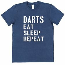 DARTS EAT SLEEP REPEAT T-SHIRT Game Pub Great Christmas Gift For Dad Men's S-XXL