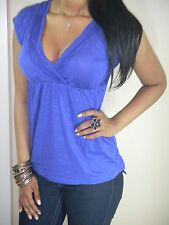 SEXY BANANA REPUBLIC BLUE V NECK CLEAVAGE EMPIRE WAIST FIGURE FLATTERING TOP VTG