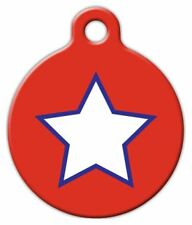 PATRIOTIC SIMPLE STAR - Custom Personalized Pet ID Tag for Dog and Cat Collars