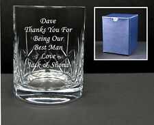 Personalised Engraved Crystal Whisky Glass Wedding Best Man, Usher Dad Gift