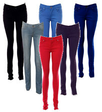 NEW LADIES WOMENS COLOURED SKINNY FIT DENIM JEANS STRETCHY SIZE 6 8 10 T0 16