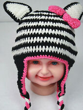 Baby Crochet Animal Zebra Hat Beanie Knit Crochet Beanie Cap Baby Gift 4 Winter
