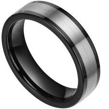 6mm Black Tungsten  Ring Brushed Center Pipe Cut Design Hot Wedding Band