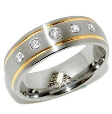 5 Clear Gems on Two Gold IP Stripes Tungsten Mens Wedding Ring SZ 9,10,11,12,13