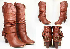 NEW Women's Boots Studded Ankle Strap Back Slouchy Cowboy Heel Boot TAN All Size