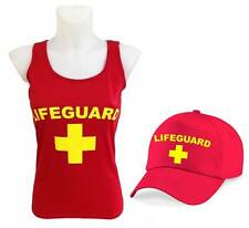 LIFEGUARD Ladies Red Vest & Red Baseball Cap 10-18 Fancy Dress Costume 2 Pack