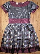 Nick and Mo NEW Anthropologie Steel Gray & Purple Party Dress Polka Dots Satin