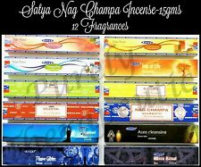 ~SATYA NAG CHAMPA INCENSE STICKS~15g~12 Fragrances to Choose From~Magic~Smudging