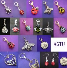 PICK YOUR CHARM ~ Clip On ladybug ladybird bugs bug beetle Bee Charm or Earrings