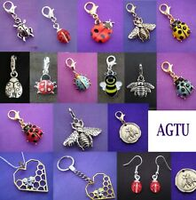 YOU PICK ~ Clip On ladybug ladybird Charm bugs bug beetle Bee Charm or Earrings