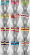 ANY COLORS! GRAY w/ NEON Knee High Stripe TUBE SOCKS! OLD SCHOOL USA