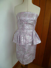 BE BEAU PINK SILVER JACQUARD PEPLUM PARTY PROM DRESS NEW 10 12 14 BNWT