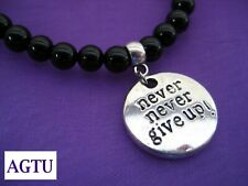 PICK YOUR BEAD Inspirational Silver NEVER NEVER GIVE UP Charm Bracelet POSITIVE