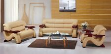 Stunning Italian Leather Match Sofa, Love and Chair Set with Stool