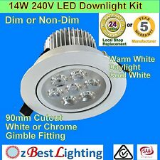 14W 240V Warm, Daylight, Cool White LED Downlight Kit Dimmable or non-dimmable