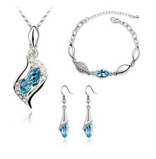 18K White GP Austrian Crystal Eyes Necklace Earrings Bracelet Jewellery Set