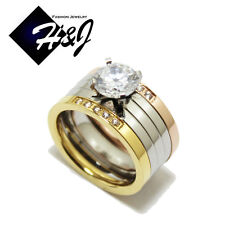 3 Pcs Stainless Steel 1.55 CT Silver/Rose Gold/Gold Engagement Wedding Rings Set