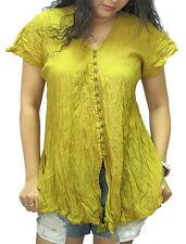 BOHO/GYPSY/PEASANT BUTTON DOWN CRINKLE COTTON SHORT SLEEVE TOP - ZBX37