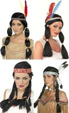 NATIVE AMERICAN RED INDIAN SQUAW POCAHONTAS WIG FANCY DRESS HAIR PIGTAILS PLAITS