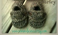 Barley Crocheted Baby Boy Loafers Shower Gift  Booties Shoes Church Brown Photo