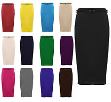 NEW WOMENS PLUS  SIZE PLAIN BELTED BODY CON OFFICE PENCIL STRETCH SKIRTS 16-26
