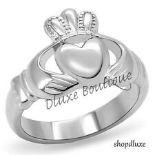 Women's Stainless Steel Irish Claddagh Promise Friendship Ring Band Size 5-10