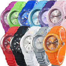 Classic Gift Colorful Analog Silicone Strap Jelly Unisex Womens Mens Wrist Watch