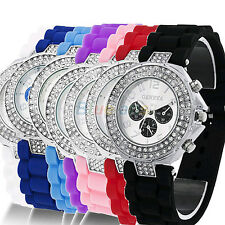 Ladies Womens Versicolor Geneva Silicone Crystal Quartz Jelly Wrist Watch B52U