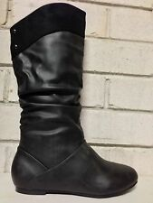 """WOMENS""""BAND""""BY NO!SHOES FLAT HEEL KNEE HIGH PULL-ON BOOTS IN BLK SMOOTH sz5to11"""