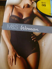 MARKS & SPENCER BLACK TUMMY CONTROL WAIST CINCHER BODY SHAPER SLIMMING NO VPL