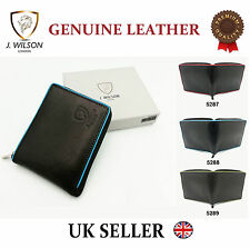 Designer J Wilson Real Genuine Mens High Quality Soft Leather Card Wallet Gift