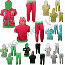 NEW WOMENS LADIES DELUXE PROJECT CROP HOODED TRACKSUIT JOG JOGGING BOTTOMS FULL