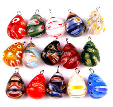 30pcs Millefiori Glass Tear Drop Pendants Charms For Earring Necklace Making