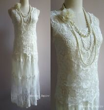 Sheer Vintage Gatsby Crochet Lace Cut Out Flapper Wedding Boho Festival Dress