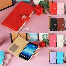 Luxury Deluxe Grid Wallet Leather Case Cover For Samsung GALAXY Mega 6.3 i9200