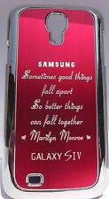ALUMINIUM BACK COVER FITS SAMSUNG GALAXY S4 MARILYN MONROE QUOTE RED BLACK PINK