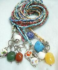 LONG NECKLACE WITH GEMSTONE BEAD & CERAMIC BEADS +cute small round bell