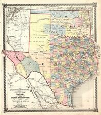 Fabulous 1872 TEXAS-IT County Map~Warner & Beers ~ Beautiful Print - In 3 Sizes