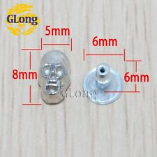 8*5mm Skull Double Rivets Nickel Silver Punk Leather DIY Studs Spike
