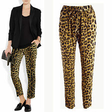 New leopard print crepe tapered pants