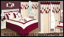 Royal Red Velvet Modern Floral Chic Quilted Bedspread Set or Curtains- Amelia