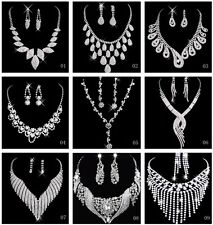 Shining Rhinestones Wedding Party Bridal Jewelry Sets Include Necklace Earrings