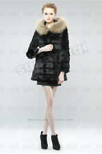 100% Real Genuine Rabbit Fur Long Coat Raccoon Collar Hoody Jacket Outwear Hat