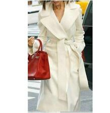 New White Fashion Women's Wool Cashmere Winter Noble Long White Jacket Coat