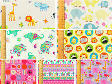 Elephant ♥ 100% Cotton FQ Fabric ♥ Kid Children Girl Boy ♥ Animal Unique Bright