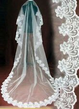 CATHEDRAL WEDDING VEIL WHITE OR IVORY LACE EDGE OVER 8 FEET LONG