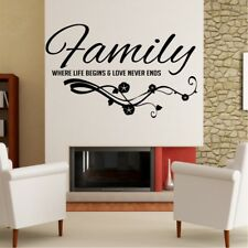 FAMILY wall quote life begins decals quotes art vinyl stickers love sticker