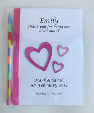 Personalised Children Wedding Heart Activity Pack Book Bag Ideal Gift Favour